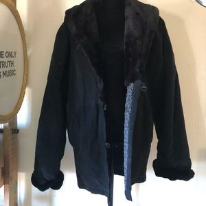 Black shearling and suede leather on trend jacket